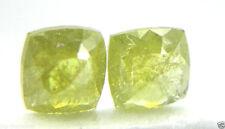 0.90CTS ROSE CUT DIAMOND NATURAL REAL CUSHION SHAPE YELLOW GREEN PAIR