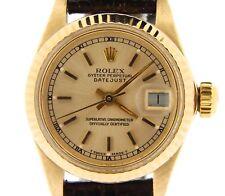 Donna Rolex Solid 18k Giallo Oro Datejust Orologio Cinturino Pelle