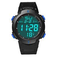 Fashion Waterproof Men's LCD Digital Stopwatch Date Alarm Boys Sport Wrist Watch