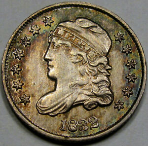 1832 Capped Bust Half Dime Nice Unc... Flashy with Nice Rim Toning! Pretty!!