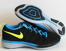 NIKE MEN FLYKNIT LUNAR 2 iD BLACK-BLUE SZ 7W [653736-011]