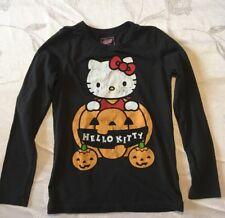 Old Navy Hello Kitty Long Sleeve Black T-Shirt Pumpkins Halloween SiZe Medium