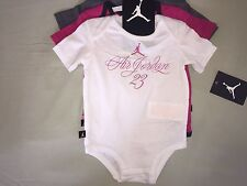 NWT JORDAN 6 9 MONTH RETRO 3 PACK OF ONE PIECE BODYSUIT GRAY PINK WHITE GIRLS