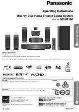 Panasonic SC-BT100 Home Theater System Owners Instruction Manual