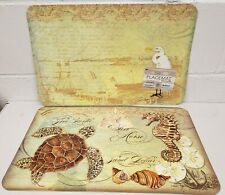 """2Reversible Non Clear Hard Plastic Placemats 12x18"""",Sealife,Sea Horse &Turtle,Ca"""
