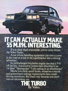 "1982 Volvo Turbo Vintage Can Make 55 MPH Interesting Original Print Ad 8.5 x 11"""
