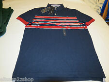 Men's Tommy Hilfiger Polo shirt stripe logo 7868242 Navy Blazer 416 L NWT NEW
