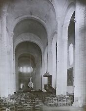 Nave, St. Pierre, Preuilly, France, Magic Lantern Glass Slide