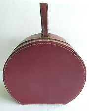 """Vintage 13"""" Woman's Travel Red Leather Handle Round Hat Box, fabric lining"""