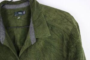 Ladies Green Khaki Chlorophylle Cotton Corduroy XXL Shirt 3/4 sleeves