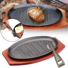 3 Sizes Cast Iron Steak Fajita Sizzling Platter Plate w/ Cooking Wooden Holder