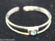 THAI argento sterling punta anello Aqua GEM STONE forma a cuore taglia regolabile