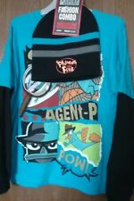 Phineas and Ferb AGENT PERRY Mock Layer Blue Shirt Boy's 10/12 NeW Beanie Hat