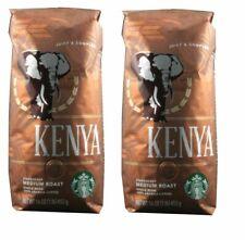 2 x Starbucks  Kenya Bland Medium Roast Whole Bean Coffee 1 LB  Best date 2019