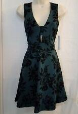 Aqua Womens A Line Dress Sexy Flare Size S Green Velour Floral Deep V A10