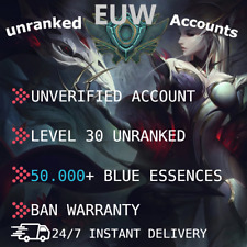 League of Legends Account EUW LOL Smurf 50k+ BE  LVL30 UNVERIFIED EMAIL UNRANKED
