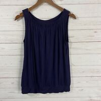 Ann Taylor Loft Sleeveless Scoop Neck Tank Top Size Small Blue Gathered Neckline