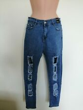 Denim Wise, Cut Out, Blue Jeans. Skinny Fit, Size 14,  Elasticated