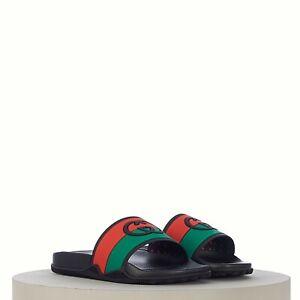 GUCCI 350$ Men's Interlocking G slide sandal In Black Red Green