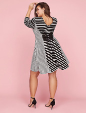 LANE BRYANT BLACK WHITE STRIPED 3/4 SLEEVE FIT & FLARE V-NECK DRESS Sz 26/28
