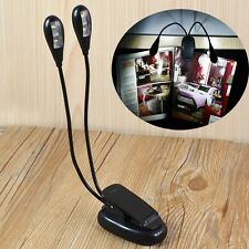 Black Clip-on 2 Dual Arms 4 LED Flexible Light Book Music Stand Lamp