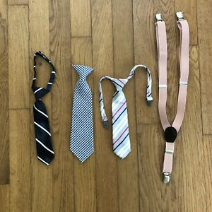 Baby Boys Toddler Lot of 3 Ties & Pink Suspenders Gingham Children's Place