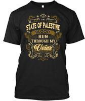 State Of Palestine Blood Thru My Veins - Run Through Hanes Tagless Tee T-Shirt