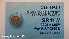SR41W/392, Seiko Watch Battery , Made in Japan, Silver Oxide, 1.55V
