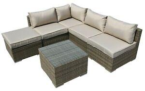 Rattan Garden Furniture 5 Seater Corner Lounge Coffee Table Outdoor Patio Set