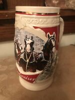 """2015 CLYDESDALE HORSE BUDWEISER BEER STEIN  """"FIRST SNOW OF THE SEASON""""  7.5"""" H"""