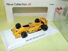 LOTUS 99 T GP D'ANGLETERRE 1987 NAKAJIMA REVE COLLECTION RV70182 SPARK 1:43
