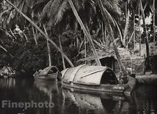 1928 Original INDIA Malabar Coast Backwater Canal Boat Palm Photo By HURLIMANN