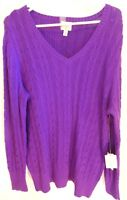 Purple Cable Knit 1x Long Sleeve V Neck Sweater New Eggplant St Johns Bay