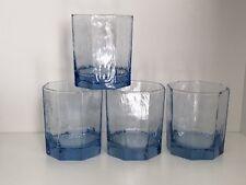 4 Vintage Libbey Glass FACETS Spanish Misty Blue Fashioned Rocks Tumblers EUC