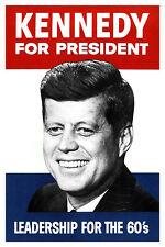 Kennedy For President Poster, John F. Kennedy, Leadership for the 60's