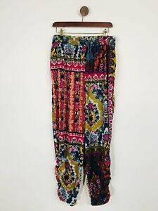 Anthropologie Women's Floral Velour Casual Trousers | M UK10-12 | Multicolour
