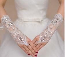 Edle fingerlose Strass Spitzen Brauthandschuhe  Damen Hochzeit Braut NEU