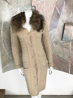 Robert Rodriguez Lambwool Cashmere Angora Raccoon Fur Cardigan Sweater Small