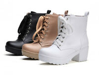 Winter US4-11 Womens punk lace Up ankle boots high platform block heels shoes