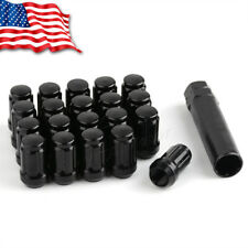 "20 Black 6 Spline Tuner 1/2""-20 Lug Nuts w/Key for Jeep Wrangler Ford Mustang"