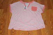 NWT Womens LIZSPORT Georgia Peach White Striped V Neck 3/4 Sleeve Shirt Top XL