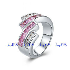 18k White Gold Filled white/pink 2-tone Cubic Zirconia CZ16mm Wide Ring Size 7.5