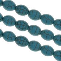 Edelsteine Türkis Perlen 12mm Oval 30stk Halbedelsten Schmuck Basteln G589