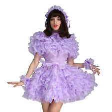 Sissy Girl Lockable Lavender Satin Organza Puffy Dress Uniform Crossdress