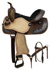 "14"" Western Pleasure Trail Double T SHOW Barrel leather saddle Bridle Tack set"