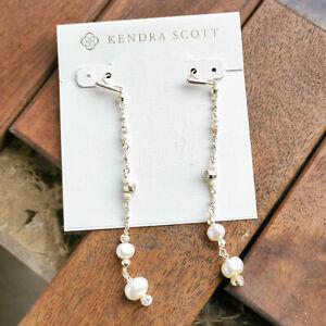 Kendra Scott Scarlet Linear Earrings Gold White Pearl