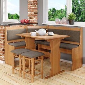 Essgruppe Moris Küche Eckbank mit Tisch und Hocker Massivholz