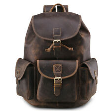 """Men's Vintage Geniun Leather Backpack Travel Shoulder Bags Laptop 14"""" Briefcase"""