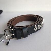 """SAINT LAURENT 2cm Black Studded Leather Belt Size 100 W34"""""""