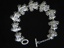 """STERLING SILVER Bracelet 8"""" Frog Charm Link Toggle HEAVY 925 32.3g NEW B72"""